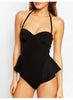 Black Flounce Panel Swimsuit