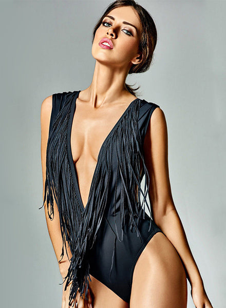 Deep V Neck Backless Tassel One Piece Swimsuit