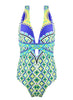 Deep V Neck Floral Printed One Piece Swimsuit