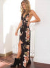 Elegant V Neck Sleeveless Backless Split Floral Printed Maxi Dress