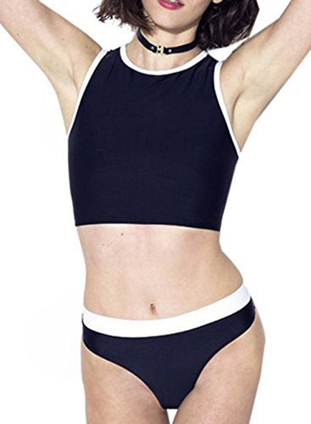 Fashion 2 Piece Color Block Tankini Set