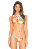 Feather Printed Bandeau Top Bikini Bottom 2 Piece Set