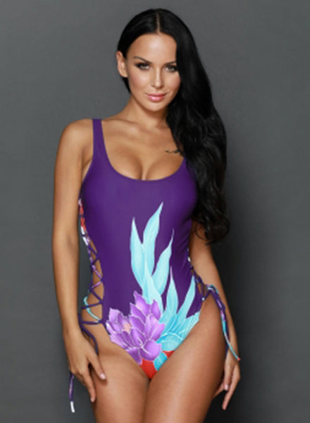 Floral Print Side Lace up One Piece Swimsuit