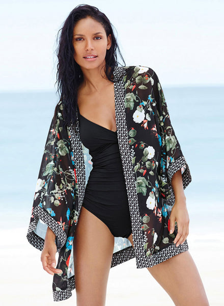 Floral Printed Loose Cover-up Kimono Beachwear