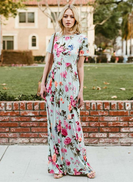 Floral Printed Short Sleeve Maxi Dress with Pockets
