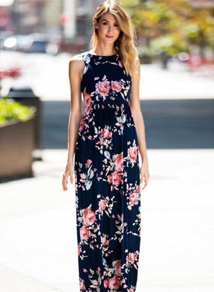 Floral Printed Sleeveless High Waist Maxi Dress