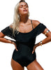 Flounce Off Shoulder One Piece Swimsuit