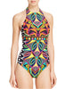 Halter Backless Printed One Piece Swimsuit
