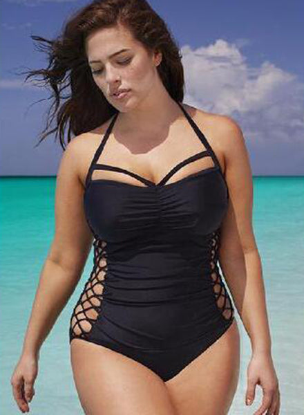 Halter Bandage Solid One Piece Swimsuit