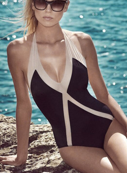 Halter Color Block One Piece Swimsuit