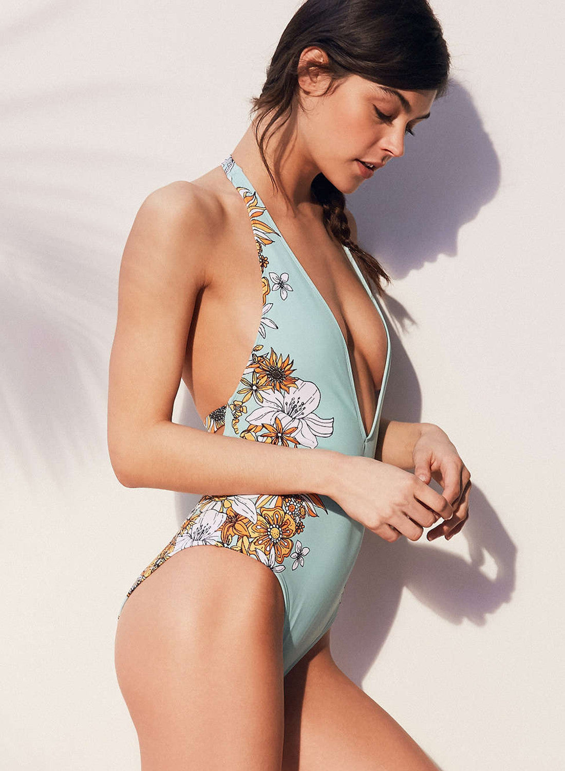 26223ab11a599 Halter Deep V Neck Floral Printed One Piece Swimsuit | SUNAAI.COM