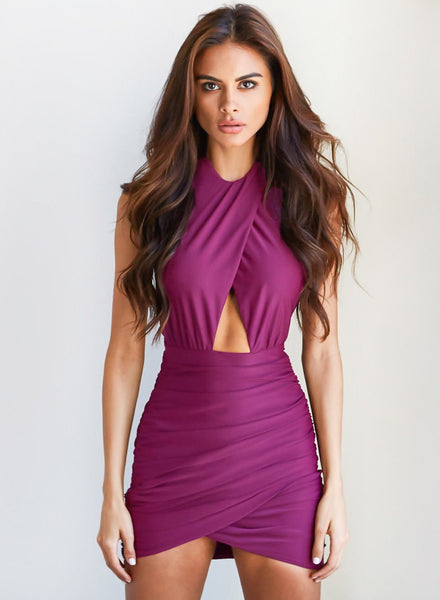 Halter Hollow out Backless Bodycon Mini Club Dress