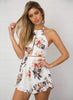 Halter Neck Backless Sleeveless Floral Printed Casual Romper