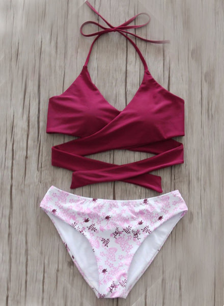 Halter Neck Cross Bikini Set