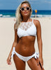 Lace High Neck Tankini Set