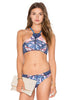 Leaf Printed High Neck Bandeau Top Bikini Set