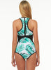 Leaf Printed Slim Fit One Piece Swimsuit