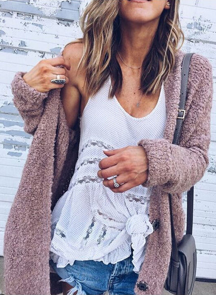 Long Sleeve Open front Loose Fit Solid Cardigan