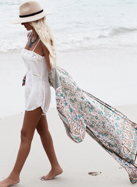 Long Sleeve Printed Long Cover up Kimono