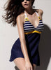 Navy Style Slim Stripped Swim Dress
