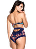One Piece Strapless Floral Printed Swimsuit