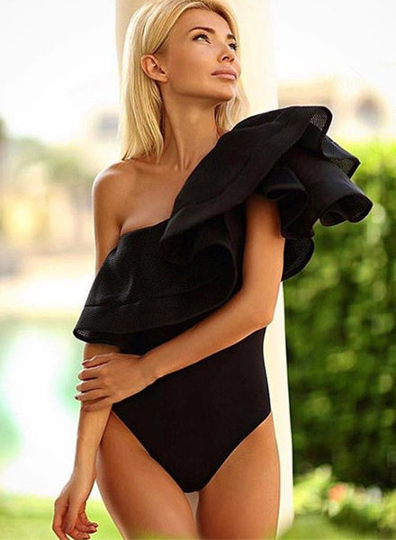 One Shoulder Ruffle Solid One Piece Swimsuit