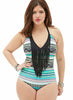 Plus Size V Neck Tirbal Print Tassel Swimsuit