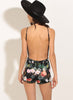 Spaghetti Strap Backless Floral Printed Slim Fit Romper
