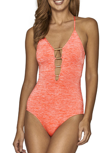 Spaghetti Strap Backless One Piece Swimsuit