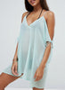 Spaghetti Strap off Shoulder Loose Sheer Dress