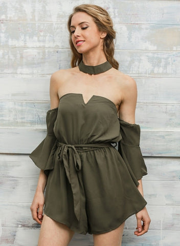Strapless Flare Sleeve Romper with Choker