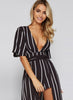 Striped Deep V Neck Romper with Maxi SKirt