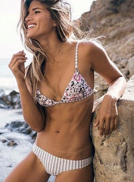 Striped Floral Triangle Bikini Set