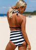 Stripes Lace Up Halter One Piece Swimsuit