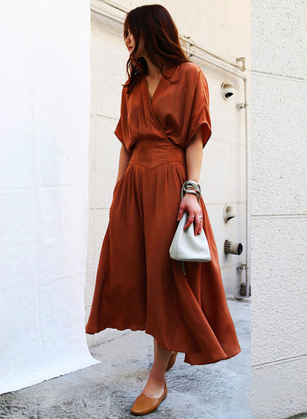 V Neck Batwing Sleeve Elastic Waist Solid Maxi Dress