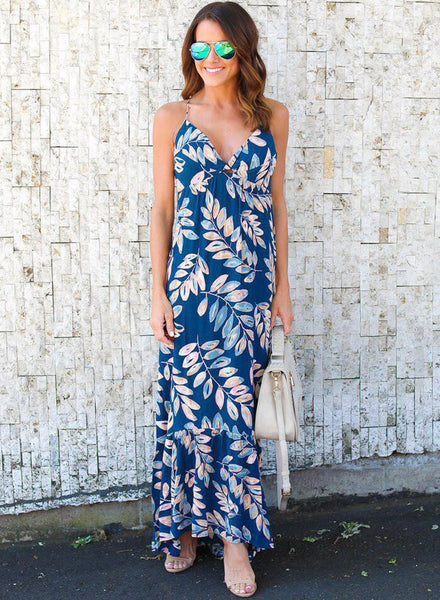 V Neck Floral Printed Backless Maxi Dress with Spaghetti Strap