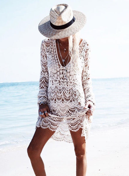 V Neck Long Sleeve Crochet Lace Cover up Dress