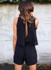 V Neck Sleeveless Backless Solid Romper