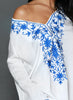White V Neck Floral Embroidery Sheer Beachwear