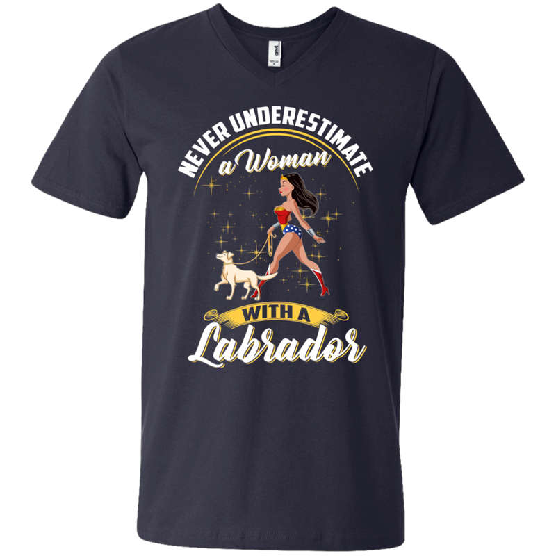 Never Underestimate A Woman With A Labrador Funny Wonder Woman T-shirts