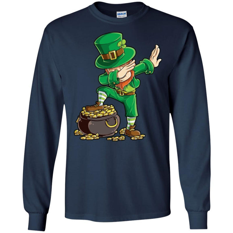 A Man Irish Standing On Golf Dabbing Funny Gifts Patrick's Day T-Shirts CustomCat