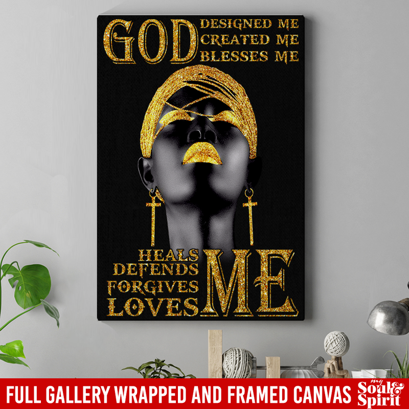 African American Canvas - God Design Created Blesses Heals Defends Forgives Loves Me Black Women Canvas Art