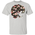 African American T-Shirt Black Girl With Flowers Hair CustomCat