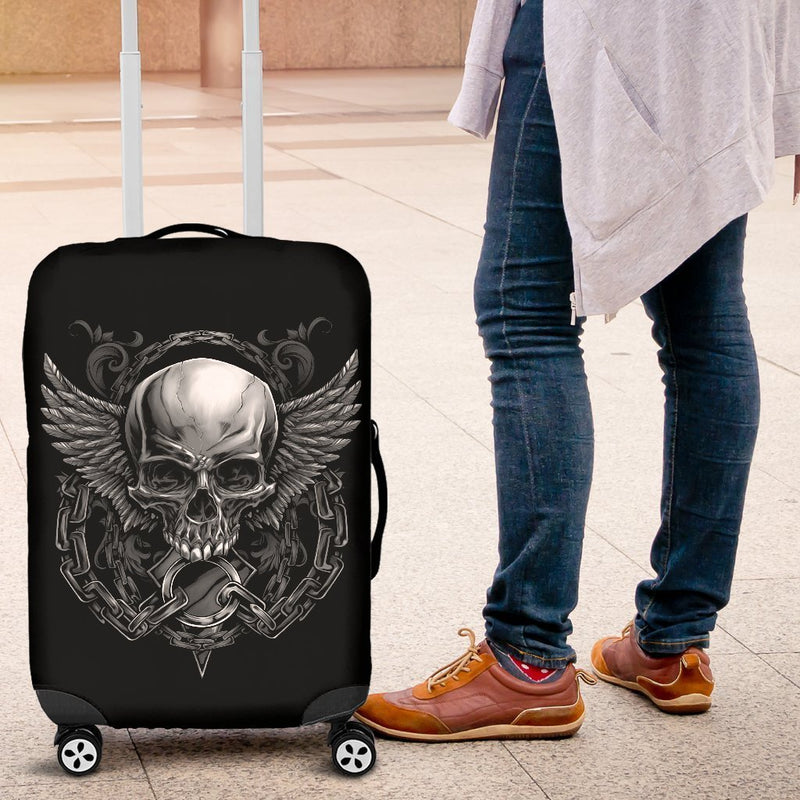 Amazing Badass Skull With Wings Luggage Cover interestprint
