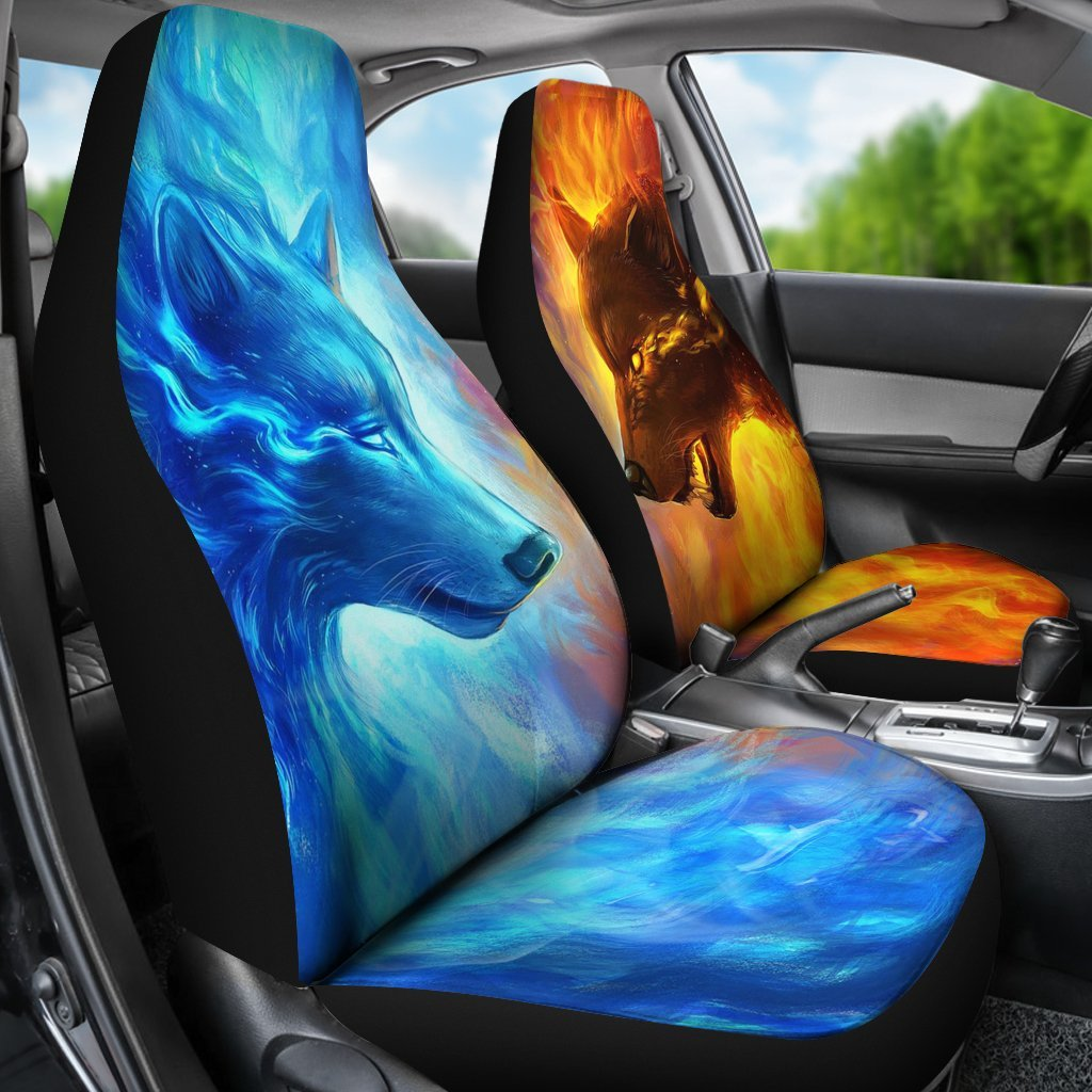 Amazing Fire And Ice Wolf Car Seat Cover My Soul Spirit