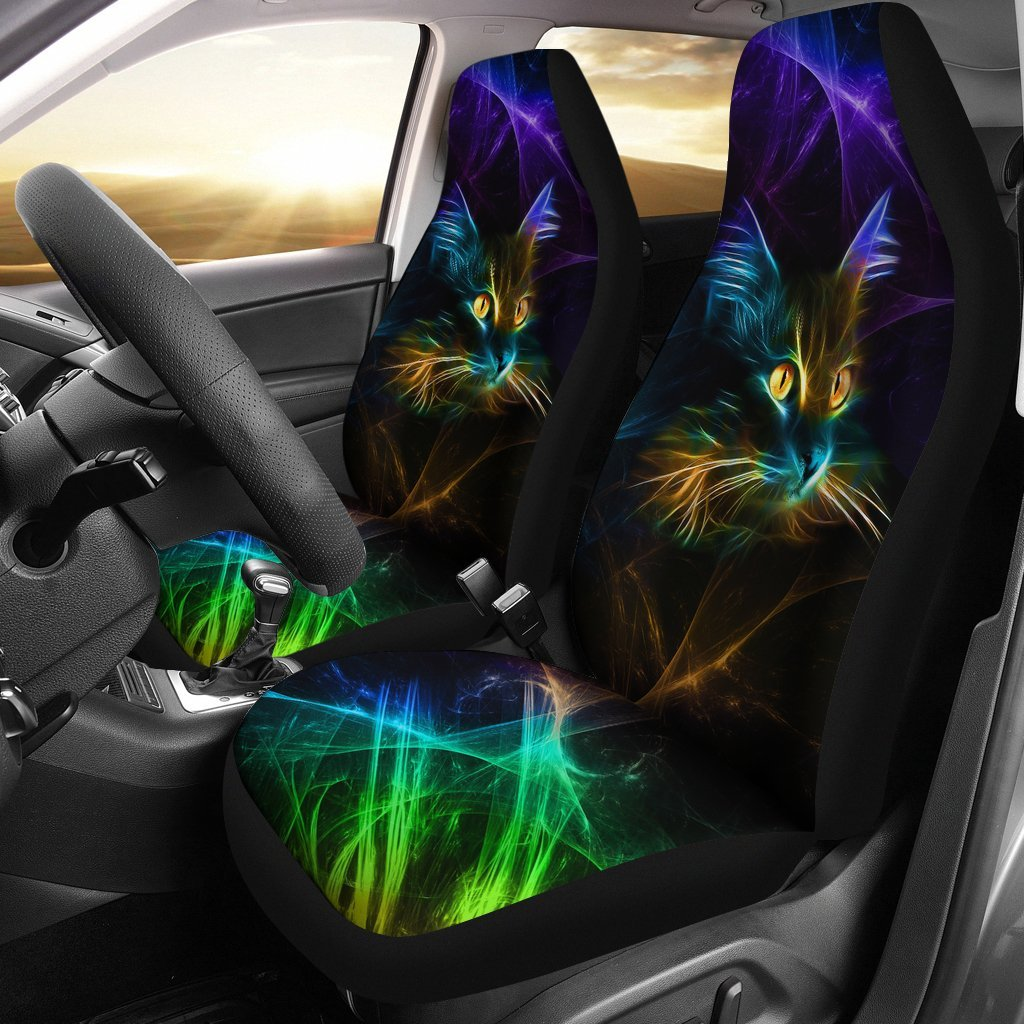 Amazing Neon Light Cat Car Seat Covers Set Of 2