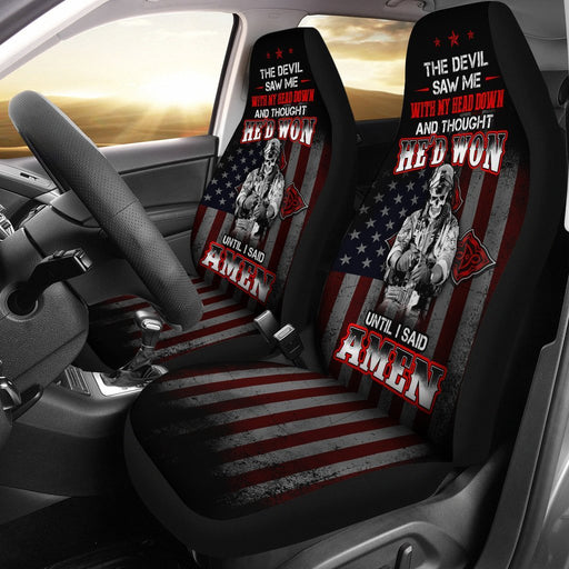Amazing Skull Gun With The Cross Behind His Back Car Seat Covers (Set Of 2) My Soul & Spirit