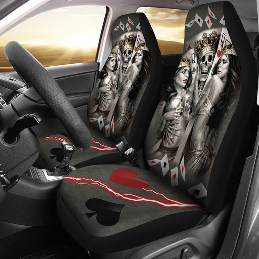 Antique Skull King And Queen Playing Card - Amazing Car Seat Covers (Set Of 2) My Soul & Spirit