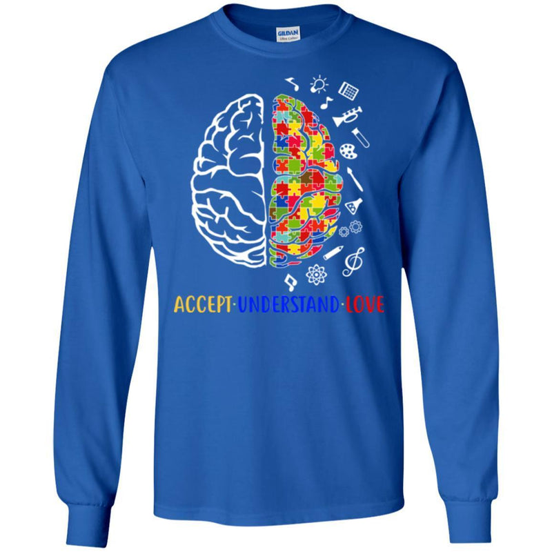 Autism T-Shirt Accept Understand Love Brain Puzzle Piece Awareness Day Gift Tee Shirts CustomCat