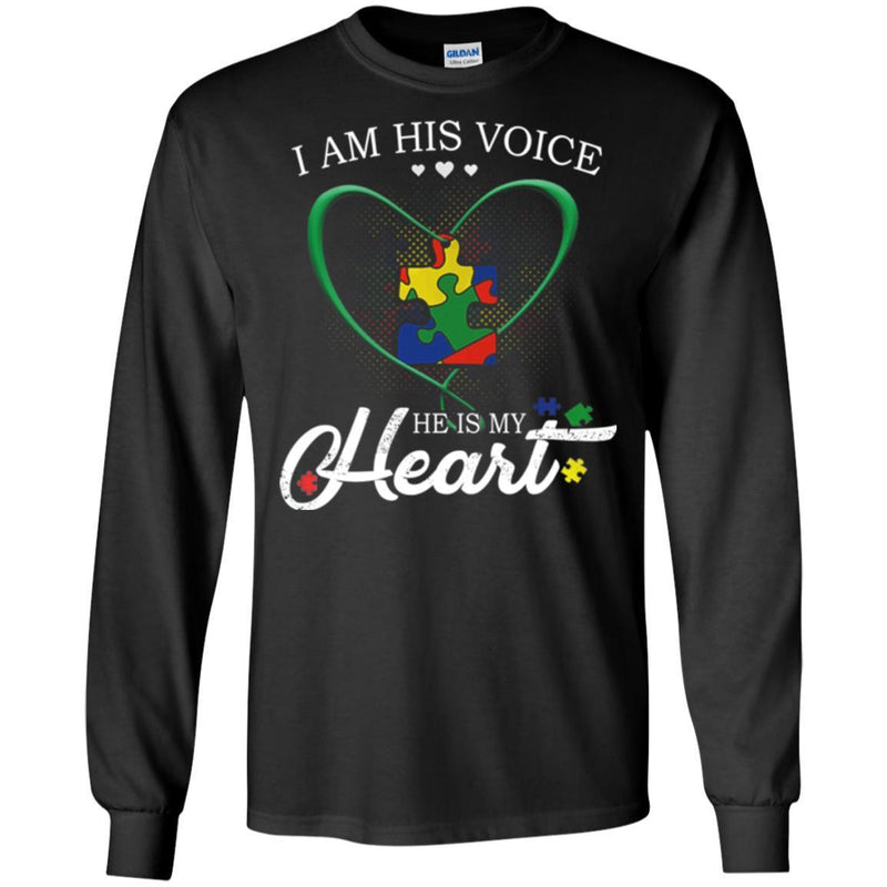 Autism T-Shirt I Am His Voice He Is My Heart Puzzle Piece Awareness Day Gift Tee Shirts CustomCat
